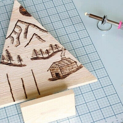How to make a decoration. Pyrography Mountain Landscape On Wood - Step 8