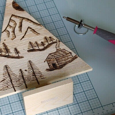 How to make a decoration. Pyrography Mountain Landscape On Wood - Step 9