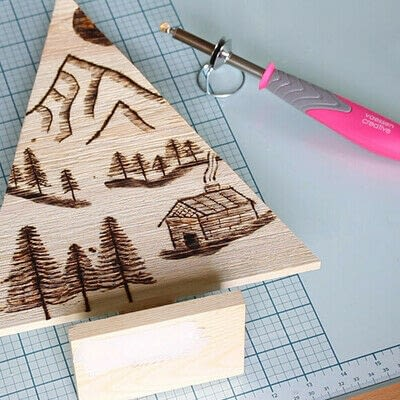 How to make a decoration. Pyrography Mountain Landscape On Wood - Step 10