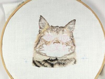 How to make a needlecraft. Tabby Pocket Cat - Step 21