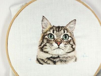 How to make a needlecraft. Tabby Pocket Cat - Step 45