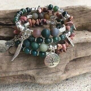 How to make a beaded charm bracelet. Charming Gemstone Memory Wire Bracelet - Step 4