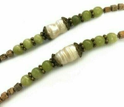 How to make a gemstone necklace. Olive Green Jasper & Pearl Long Mala Necklace - Step 1