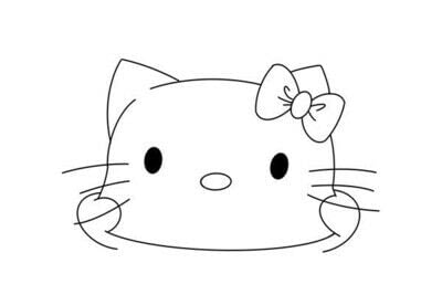 How to draw a manga drawing. How To Draw A Hello Kitty - Step 3