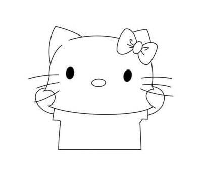 How to draw a manga drawing. How To Draw A Hello Kitty - Step 4