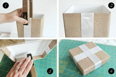 How to make an embellished box. Holiday Bath Tissue Holder - Step 15