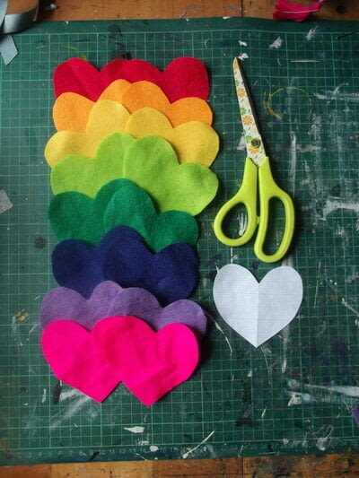 How to make a hanging garland. Rainbow Heart Hanger - Step 3