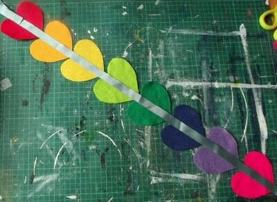 How to make a hanging garland. Rainbow Heart Hanger - Step 4