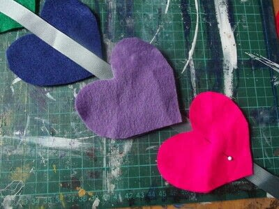How to make a hanging garland. Rainbow Heart Hanger - Step 5