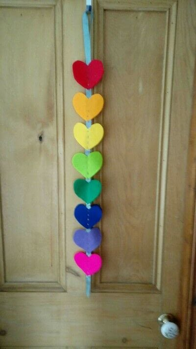 How to make a hanging garland. Rainbow Heart Hanger - Step 8