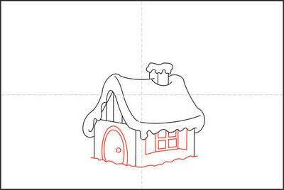 How to draw a pastel drawing. How To Draw A Hut In The Snow - Step 5