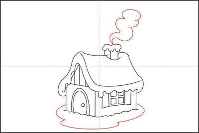 How to draw a pastel drawing. How To Draw A Hut In The Snow - Step 6