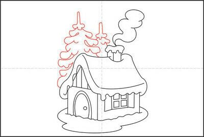 How to draw a pastel drawing. How To Draw A Hut In The Snow - Step 7