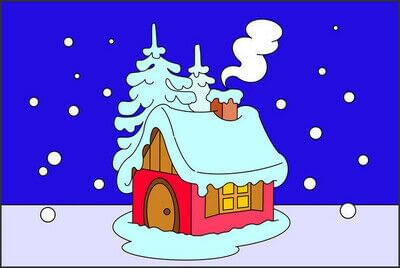 How to draw a pastel drawing. How To Draw A Hut In The Snow - Step 9