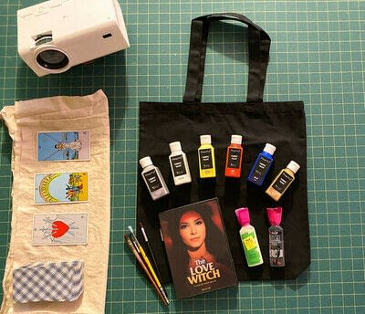 How to paint a painted tote. Love Witch Tarot Card Tote Bag - Step 1