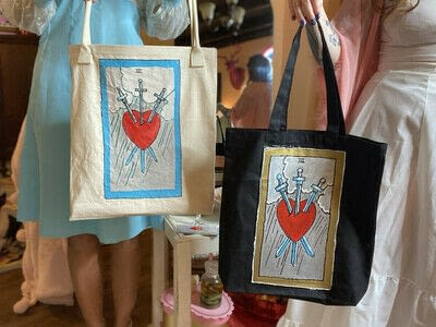 How to paint a painted tote. Love Witch Tarot Card Tote Bag - Step 4
