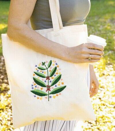 How to stitch an embroidered tote. Sprouting Coffee Plant Tote - Step 6
