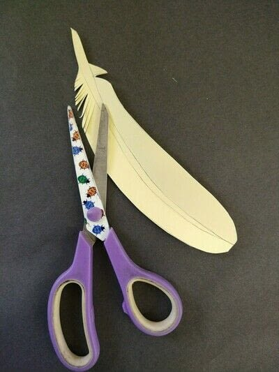 How to cut a piece of papercutting. Paper Feathers - Step 4