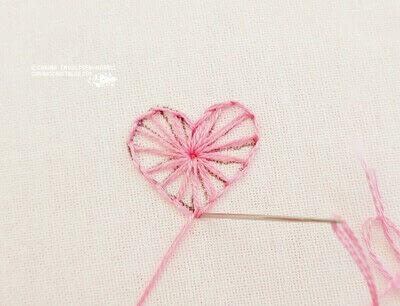 How to stitch . Buttonhole Heart Stitch Tutorial - Step 6