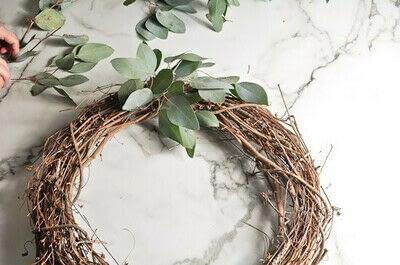 How to make a wreath. Diy Eucalyptus Wreath Tutorial - Step 2