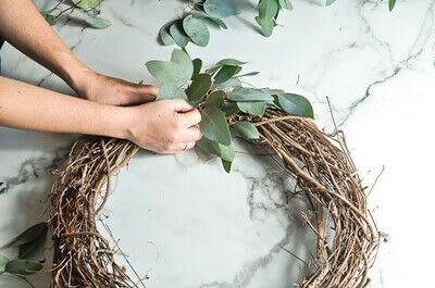 How to make a wreath. Diy Eucalyptus Wreath Tutorial - Step 3