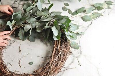 How to make a wreath. Diy Eucalyptus Wreath Tutorial - Step 4