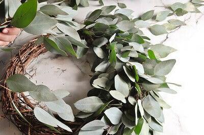 How to make a wreath. Diy Eucalyptus Wreath Tutorial - Step 6