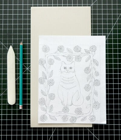 How to create a drawing or painting. Two Color Block Print - Step 1