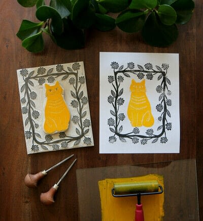 How to create a drawing or painting. Two Color Block Print - Step 15