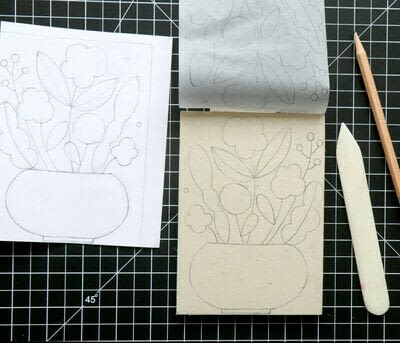 How to create a drawing or painting. Mosaic Effect Block Print - Step 1