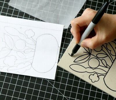 How to create a drawing or painting. Mosaic Effect Block Print - Step 2