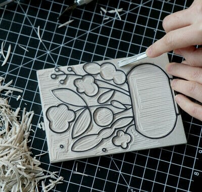 How to create a drawing or painting. Mosaic Effect Block Print - Step 3