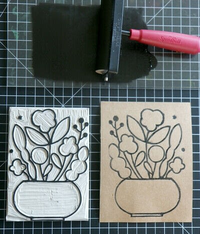 How to create a drawing or painting. Mosaic Effect Block Print - Step 4
