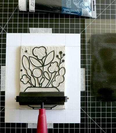 How to create a drawing or painting. Mosaic Effect Block Print - Step 7