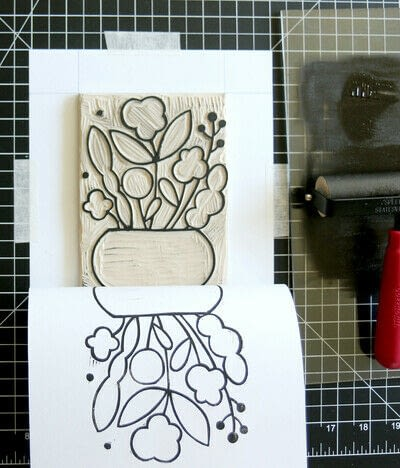 How to create a drawing or painting. Mosaic Effect Block Print - Step 8
