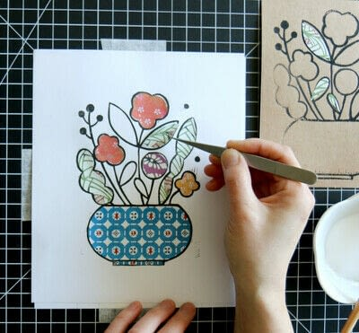 How to create a drawing or painting. Mosaic Effect Block Print - Step 9