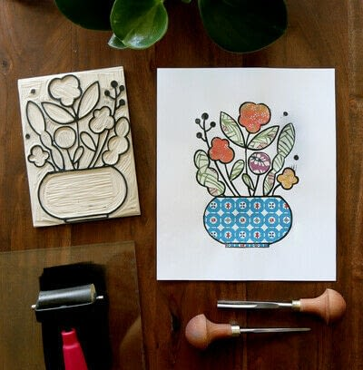 How to create a drawing or painting. Mosaic Effect Block Print - Step 10