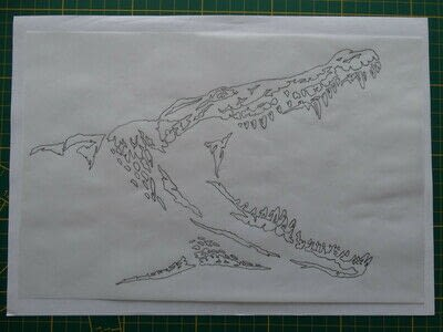 How to cut a piece of papercutting. 3. Silver Croc - Step 1