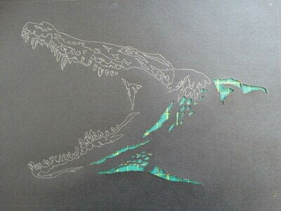 How to cut a piece of papercutting. 3. Silver Croc - Step 3