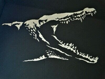 How to cut a piece of papercutting. 3. Silver Croc - Step 8