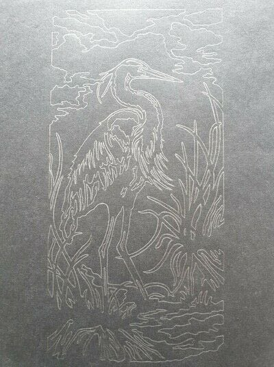 How to cut a piece of papercutting. 4. The White Heron - Step 1