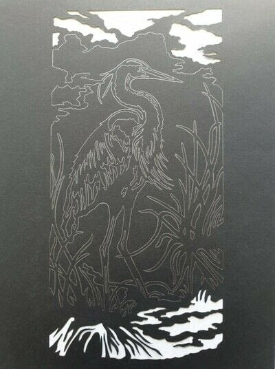 How to cut a piece of papercutting. 4. The White Heron - Step 2