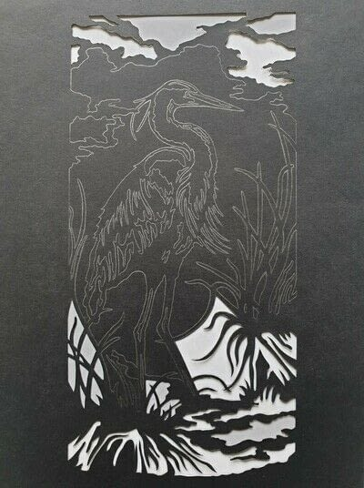 How to cut a piece of papercutting. 4. The White Heron - Step 3