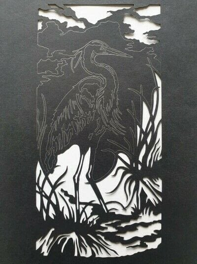 How to cut a piece of papercutting. 4. The White Heron - Step 4
