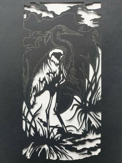 How to cut a piece of papercutting. 4. The White Heron - Step 5
