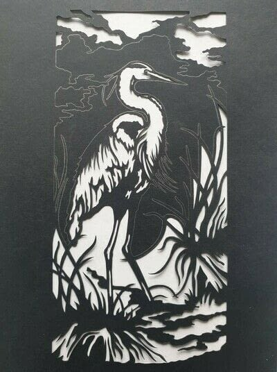 How to cut a piece of papercutting. 4. The White Heron - Step 6