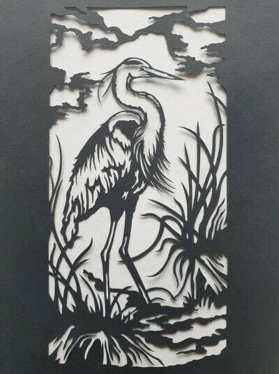 How to cut a piece of papercutting. 4. The White Heron - Step 7