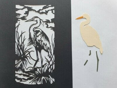 How to cut a piece of papercutting. 4. The White Heron - Step 9