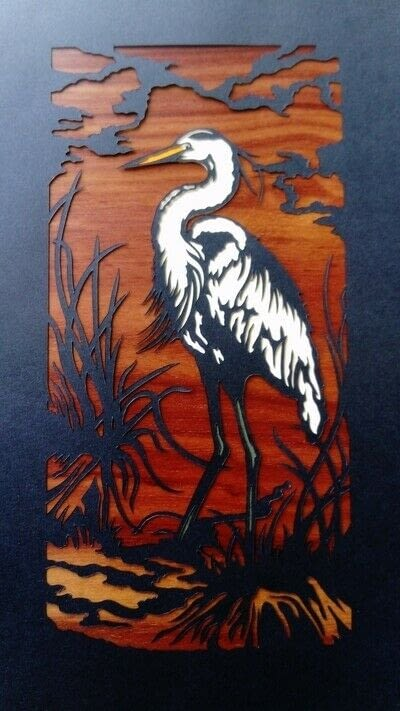 How to cut a piece of papercutting. 4. The White Heron - Step 11