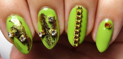 How to paint a nail painting. Lime Light - Step 3